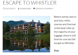 escape to whistler