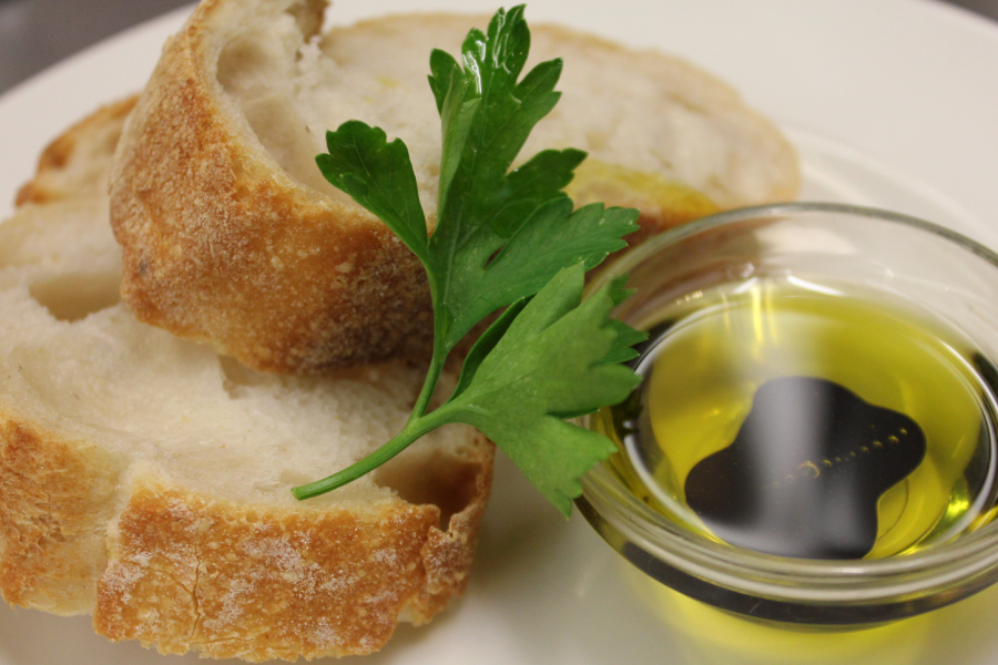 french baguette with balsamic reduction and olive oil