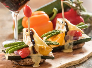 grilled veggie stack with melted brie