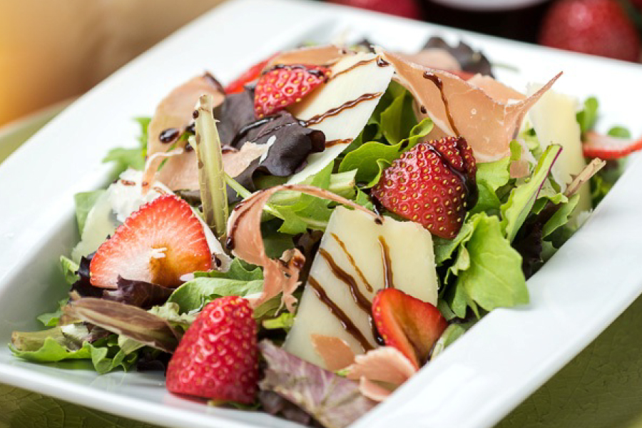 proscuitto and parmesan salad with fresh strawberries
